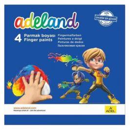 Краски Adel ADELAND 234-0630-100 пальчиковые 4цв. 45мл. карт.супероб. 6 шт./кор.