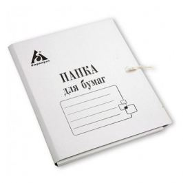 Папка на завязках Бюрократ PZ260M картон мелованный 0.4мм 260г/м2 белый 200 шт./кор.