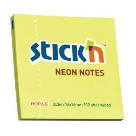 Блок самоклеящийся бумажный Stick`n 21133 76x76мм 100лист. 70г/м2 неон желтый 12 шт./кор.