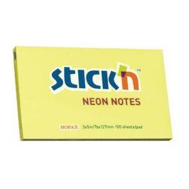 Блок самоклеящийся бумажный Stick`n 21135 76x127мм 100лист. 70г/м2 неон желтый 12 шт./кор.