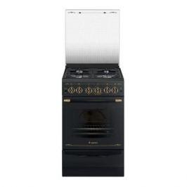 Газовая плита GEFEST ПГ 5100-02 0183, газовая духовка, стеклянная крышка, черный и бронзовый