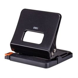 Дырокол Deli E0142black макс.:25лист. металл черный отв.:2 с линейкой