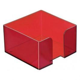 Подставка Стамм ПЛ51 для бумажного блока 90x90x50мм красный/тонированный пластик