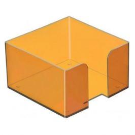 Подставка Стамм ПЛ53 для бумажного блока 90x90x50мм оранжевый/тонированный пластик
