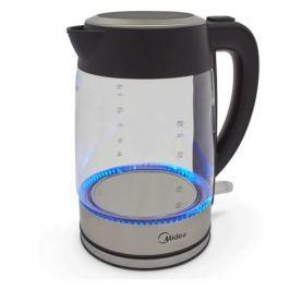 Чайник электрический MIDEA MK-8002, 2200Вт, нержавеющая сталь и черный