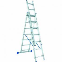 Лестница СИБРТЕХ 97822, 6.1 м, нагрузка 150 кг, 3 х 12 ступеней, трехсекционная, алюминиевая