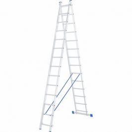 Лестница СИБРТЕХ 97914, высота 7.25 м, нагрузка 150 кг, 2 х 14 ступеней, двухсекционная, алюминиевая