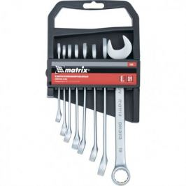 Набор ключей комбинированных, 8 - 19 мм, 8 шт., CrV, матовый хром MATRIX