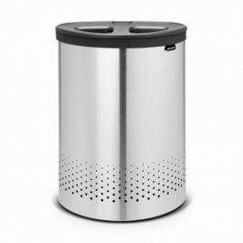 Бак для белья двухсекционный с пластиковой крышкой (55 л), стальной матовый 105029 Brabantia