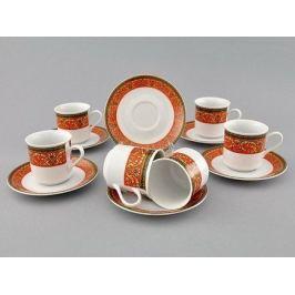 Набор чашек Сабина Красная лента (0.15 л) с блюдцами, 6 шт. 02160414-0979 Leander