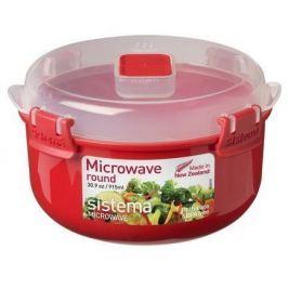 Контейнер круглый Microwave (915 мл), 15.6х9.3 см, красный 1113 Sistema