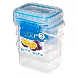 Набор контейнеров Fresh (400 мл), 11.5х9х16 см, 3 шт, голубой 921543 Sistema