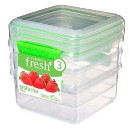 Набор контейнеров Fresh (1.2 л), 15.5х15х16 см, 3 шт, зеленый 951630 Sistema