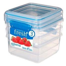 Набор контейнеров Fresh (1.2 л), 15.5х15х16 см, 3 шт, голубой 921630 Sistema
