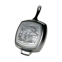 Сковорода-гриль квадратная Fish Logo-Лого Рыба, 26х26 см, с двумя ручками L8SGPWLFI Lodge