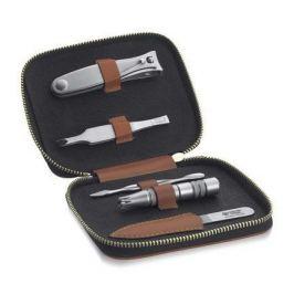 Маникюрный набор Dovo, 5 пр., футляр из натуральной кожи (теляч.), светло-коричневый 407066 Dovo