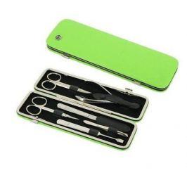 Маникюрный набор GD, 6пр., покрытие никель, футляр из натуральной кожи, 20х6.5 см, зеленый 1556G GD