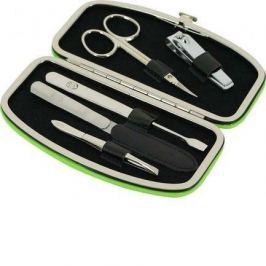 Маникюрный набор GD, 5пр., покрытие никель, футляр из натуральной кожи, 14.5х7.5 см, зеленый 1557G GD