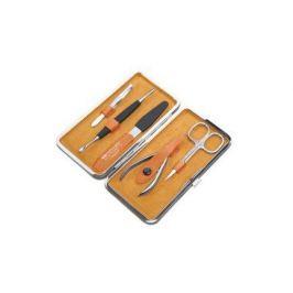 Маникюрный набор, 5 пр., в чехле из натуральной кожи, желто-оранжевый 505YO Dewal