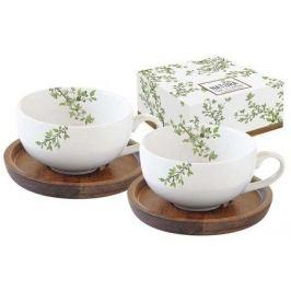 Набор чашек для кофе (120 мл) с крышками-подставками из акации Натура, 4 пр, в подарочной упаковке EL-R1081_NTRA Easy Life (R2S)
