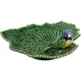 Блюдо Листья, 19х19х7.5 см, с синей птичкой BOR65002705 Bordallo Pinheiro