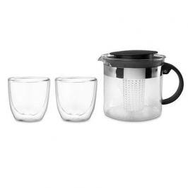 Набор чайный Bistro, 3 пр (чайник заварочный с прессом Bistro 1 л. чёрный, набор термобокалов Pavina Outdoor 0.25 л. - 2 шт.) K1875-01 Bodum