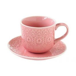 Чашка (300 мл) с блюдцем Ambiente, розовая EL-R1215_AMBP Easy Life (R2S)