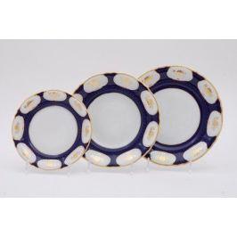 Набор тарелок Соната Темно-синий орнамент с золотом, 18 пр. 07160119-0443 Leander