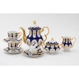 Сервиз кофейный Соната Темно-синий орнамент с золотом, 15 пр. 07160714-0443 Leander