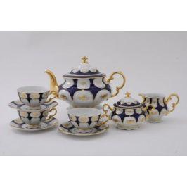 Сервиз чайный Соната Темно-синий орнамент с золотом, 15 пр. 07160725-0443 Leander