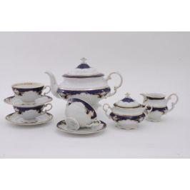 Сервиз чайный Соната Темно-синяя окантовка с золотом, 15 пр. 07160725-1357 Leander