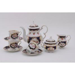 Сервиз кофейный Соната Темно-синий орнамент с розами, 15 пр. 07160714-0440 Leander