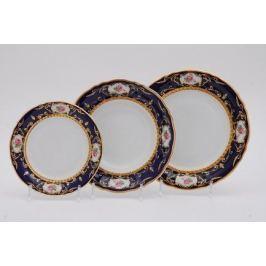 Набор тарелок Соната Темно-синий орнамент с розами, 18 пр. 07160119-0440 Leander