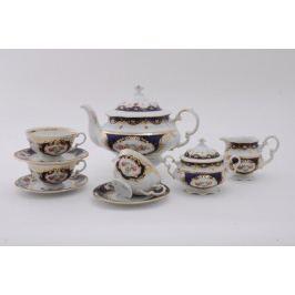 Сервиз чайный Соната Темно-синий орнамент с розами, 15 пр. 07160725-0440 Leander