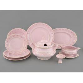 Сервиз столовый Соната Розовая нить, 25 пр., розовый фарфор 07262011-0158 Leander