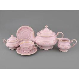Сервиз чайный Соната Розовая нить, 15 пр., розовый фарфор 07260725-0158 Leander