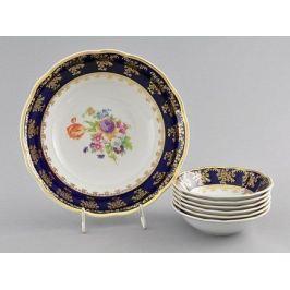 Набор салатников Мэри-Энн Темно-синяя окантовка с цветами, 7 пр. 03161416-0086 Leander