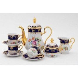 Сервиз кофейный Мэри-Энн Темно-синяя окантовка с цветами, 15 пр. 03160714-0086 Leander