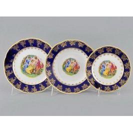 Набор тарелок Мэри-Энн Темно-синяя окантовка с пасторалью, 18 пр. 03160119-0179 Leander