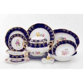Сервиз столовый Мэри-Энн Темно-синяя окантовка с цветами, 25 пр. 03162011-0086 Leander
