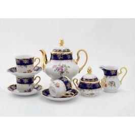 Сервиз чайный Мэри-Энн Темно-синяя окантовка с цветами, 15 пр. 03160725-0086 Leander