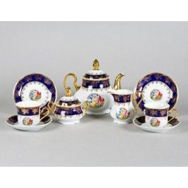 Сервиз чайный Мэри-Энн Темно-синяя окантовка с пасторалью, 15 пр. 03160725-0179 Leander