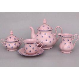 Сервиз чайный Мэри-Энн Незабудки, 15 пр., розовый фарфор 03260725-0887 Leander