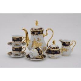 Сервиз кофейный Мэри-Энн Темно-синяя окантовка с золотом, 15 пр. 03160714-0431 Leander