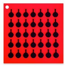 Подставка квадратная с логотипом сковороды, 19 см, красная AS7S41 Lodge