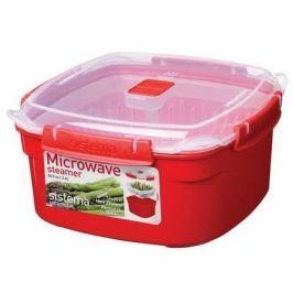 Контейнер Microwave (2.4 л) 20.9х21.1х10.7см, квадратный, красный 1102 Sistema