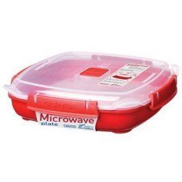 Контейнер Microwave (880 мл), 21х21х6 см, квадратный, красный 1105 Sistema