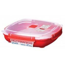 Контейнер Microwaveнизкий (1.3 л), 23.8х5.9 см, красный 1106 Sistema