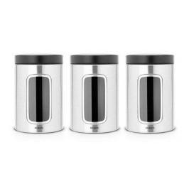 Набор контейнеров с окном (1.4 л), матовые стальные, 3 шт. 335341 Brabantia