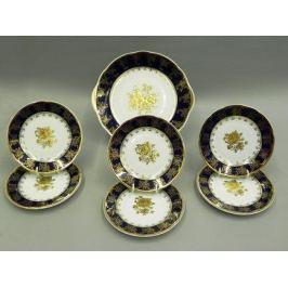 Сервиз для торта Мэри-Энн Темно-синяя окантовка с золотом, 7 пр. 03161019-0431 Leander